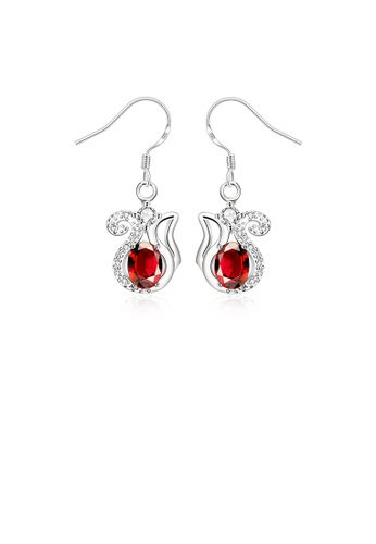 Glamorousky red Elegant Sweet Kettle Earrings with Red Cubic Zircon 7632AAC839AF40GS_1