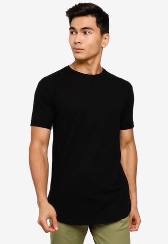 UniqTee black Curved Hem Short Sleeve Tee AFF19AAD5EA9F3GS_1