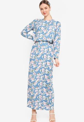 Lubna blue and purple Scallop Trim Kurung C1C46AAD5796B4GS_1
