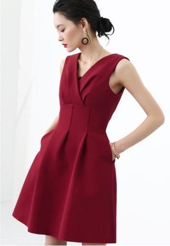 Sunnydaysweety red Sleeveless Korean Elegant V-neck Dress 10F98AA978F9BAGS_1