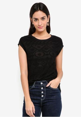 Sisley black Cross-stitch Ethnic T-Shirt 9F135AA9FE0648GS_1