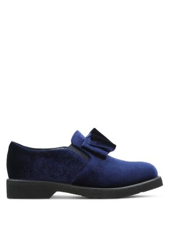 BETSY blue Velvet Loafers BE207SH0RES0MY_1