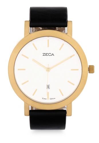 ZECA black Zeca Watches Couple Man Fashion Leather Analog - 3009M Black D8CB8AC1C37869GS_1