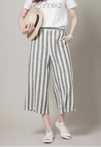 H:CONNECT black Flair 3/4 Cotton Pants 0A569AAFD61FDBGS_1