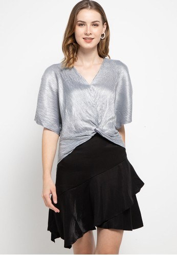 Icons silver Twisted Metallic Pleat Blouse 2F118AA877182EGS_1