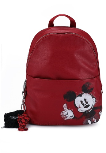 Desigual red Leather Effect Illustration Backpack EE98FAC1D9C147GS_1