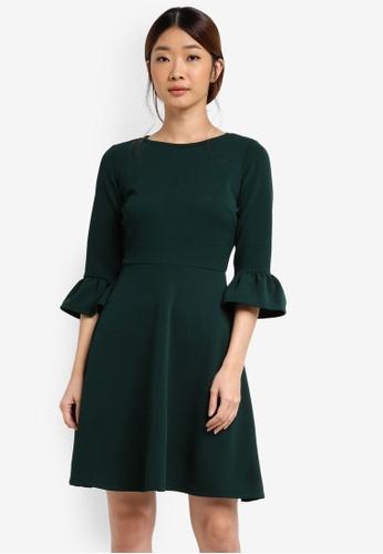 Dorothy Perkins green Petite Flute Sleeve Dress DO816AA0T05DMY_1