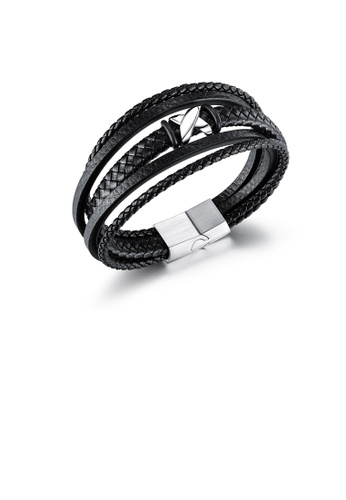 Glamorousky silver Fashion Personalized X-shaped 316L Stainless Steel Multi Layer Leather Short Bracelet 63FE7AC1D8027EGS_1