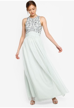 4e9652374025 Frock and Frill green Sleeveless Embellished Maxi Dress FBC06AA8F76553GS_1