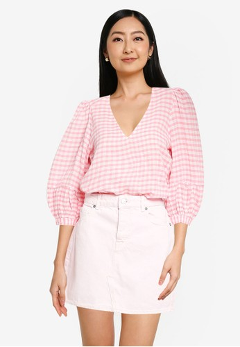 ONLY pink ONLLOTUS 3/4 SLEEVE TOP WVN 42224AA90DB95AGS_1