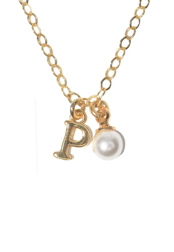 PSYNDROME gold Personalised Initial Letter Alphabet with Pearl Necklace - P 5A60CAC9658766GS_1