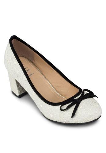 esprit台北門市蝴蝶結蕾絲中跟鞋, 女鞋, 厚底高跟鞋