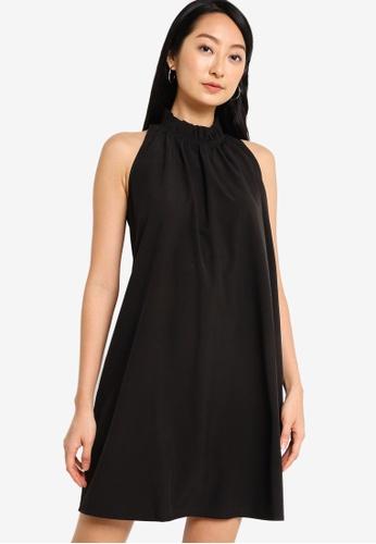 ZALORA BASICS black Frill Neck Swing Dress 700DEAAA39EFACGS_1