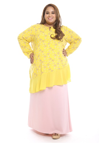 Ria Modern Kurung from PLUMERIA in white and red and pink and yellow_1