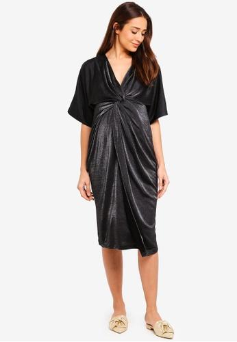 JoJo Maman Bébé black Maternity Sparkle Twist Wrap Dress 4E43CAAAA44552GS_1