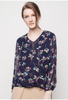 Over-Lap Floral Print Blouse