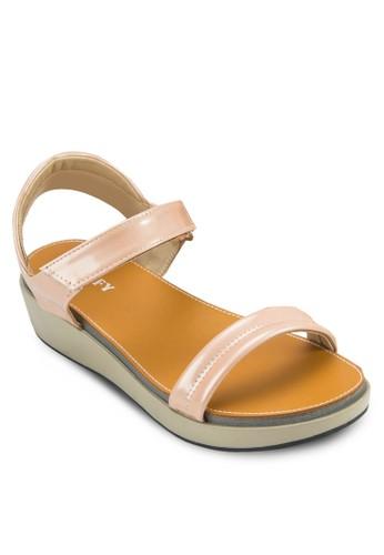 一字帶厚底涼鞋,esprit女裝 女鞋, 楔形涼鞋