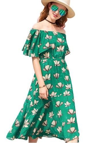 Sunnydaysweety green 2017 S/S New Green Chiffon Short Sleeves Off-Shoulder One Piece Midi Dress UA061402GR SU219AA11DDSSG_1