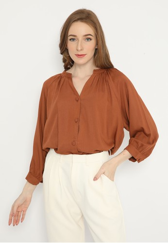 Mannequin brown V Neck Button Rayon Top E764CAA8AED365GS_1