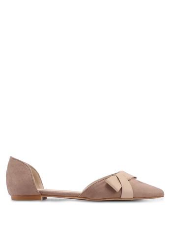 ZALORA 米褐色 麂皮平底鞋 83835SHC086A56GS_1