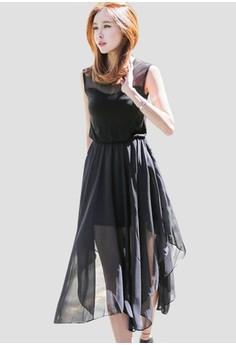 韓風時裝 无袖雪纺连衣裙 G1100
