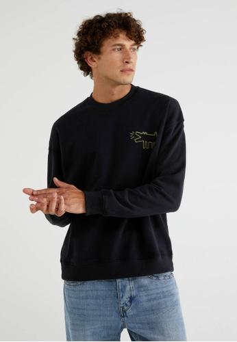 "United Colors of Benetton black ""Keith Haring"" Crew Neck Sweatshirt FA32EAA5353E0DGS_1"