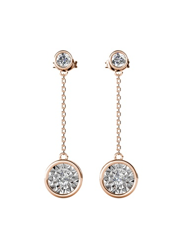 Her Jewellery gold Ophelia Dangling Earrings (Rose Gold and White) - Made with Premium grade crystals from Austria EF972ACAB25CB2GS_1