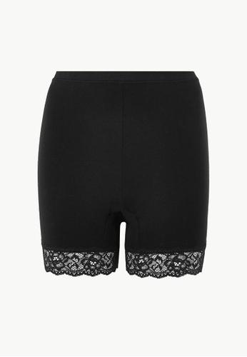 MARKS & SPENCER black M&S Cotton & Lace Cycling Shorts E4E43AA5ECF928GS_1