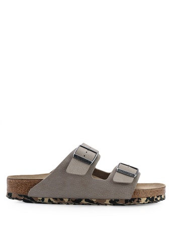 Birkenstock grey Arizona Desert Soil Camou Soft Footbed Sandals DC08FSH492A11BGS_1