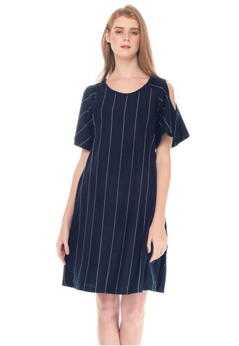 MOOIMOM navy MOOIMOM Cold Shoulder Nursing Dress & Baby Clothes Baju Hamil Menyusui Couple Ibu Anak - Navy Girl 37FB8AABAA3723GS_1