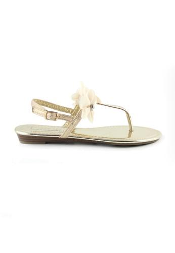 London Rag 金色 London Rag女士金色带花平底凉鞋 LO507SH0A4JUTW_1