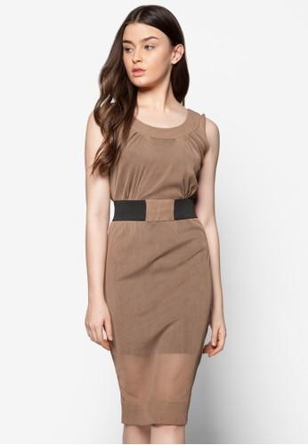 網眼腰帶連身裙, 服飾, 正esprit台北門市式洋裝
