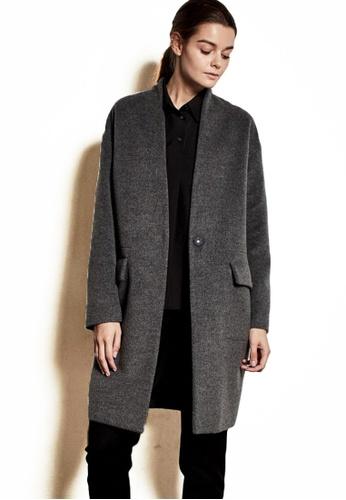 The K Story grey Simple Wool Coat 38588AA1D4CE02GS_1