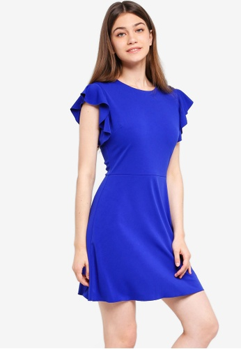 Something Borrowed blue Flutter Sleeves Fit And Flare Dress 74966AA6ADECC8GS_1