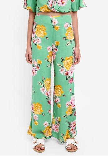 Miss Selfridge green Petite Green Floral Print Wide Leg Trousers FAFD4AA197B2DDGS_1