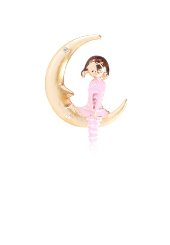Glamorousky white Fashion Creative Plated Gold Moon Girl Brooch with Cubic Zirconia 0B296ACF4CC2C8GS_1