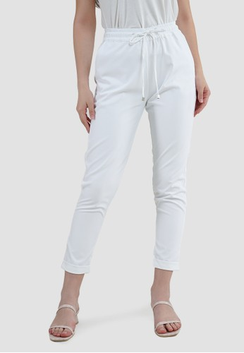 MISSISSIPPI white Celana Bahan Panjang Wanita Roll Up A05989M Putih CCC9CAA8B31F05GS_1