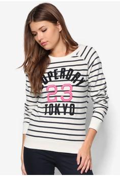 Applique Super Stripe Crew Sweater