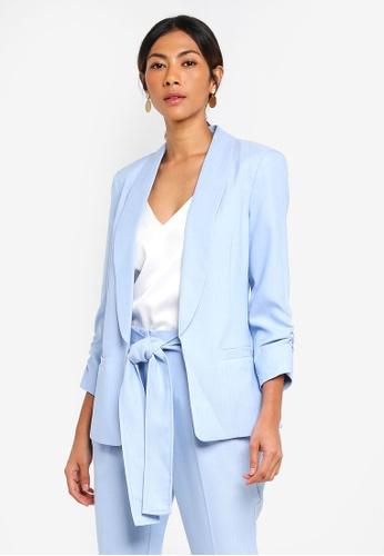 Dorothy Perkins blue Chambray Ruche Sleeve Blazer 526A3AA39ACA11GS_1