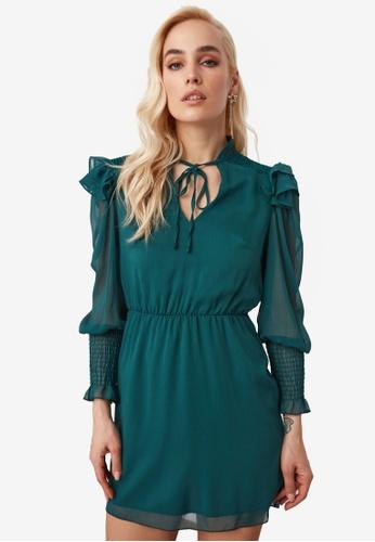 Trendyol green Ribbon Tie Neck Detail Chiffon Dress 508DAAAC81D79BGS_1