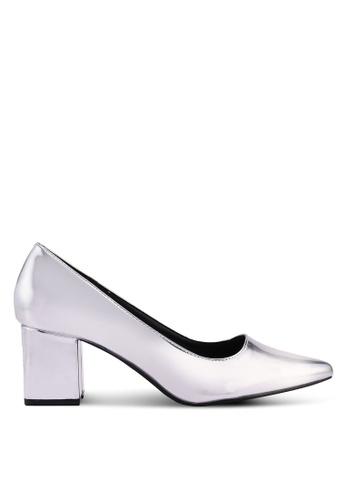 MISSGUIDED silver Mid Heel Block Court Pump Heels BFC68SH8030C41GS_1