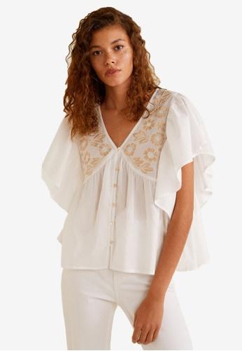 MANGO white Ruffle Sleeves Shirt B6443AAD43808CGS_1
