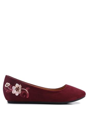 Noveni 紅色 刺繡平底鞋 8D31ESH7C6A9EAGS_1