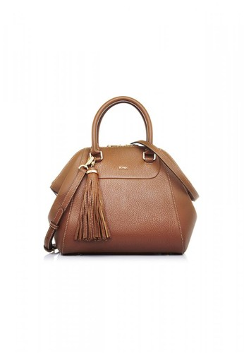 Bonia Brown Guilietta Satchel With Dual Handle Strap M