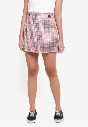 TOPSHOP pink Summer Checkered Mini Kilt Skirt A7BCEAAB4E8DEBGS_1