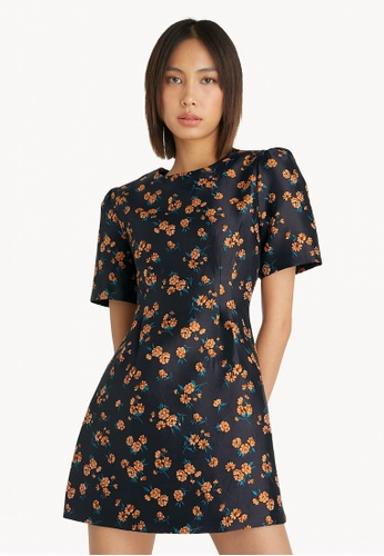 Pomelo blue Floral Cinched Waist Puff Sleeve Dress - Navy C5DEAAAD243619GS_1