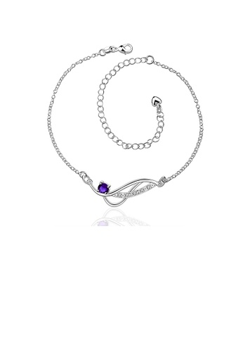 Glamorousky blue Simple and Fashion Geometric Blue Cubic Zircon Anklet E1710AC9B73620GS_1