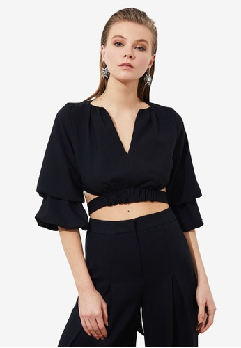 Trendyol black Cut Out Tie Back Detail Crop Top E4598AAA79C834GS_1