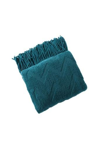 DILAS HOME Zigzag Embossed Knit Throw Blanket (Teal Blue) 60DAEHL0C63B95GS_1
