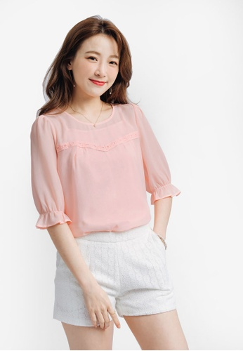 YOCO pink Blouse with Sweetheart Detail A4C38AA1D51F63GS_1
